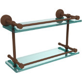 Waverly Place 16 Inch Double Glass Shelf with Gallery Rail, Antique Bronze