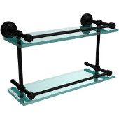 Waverly Place 16 Inch Double Glass Shelf with Gallery Rail, Matte Black