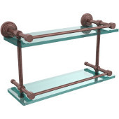 Waverly Place 16 Inch Double Glass Shelf with Gallery Rail, Antique Copper