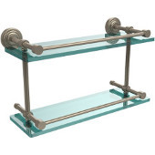 Waverly Place 16 Inch Double Glass Shelf with Gallery Rail, Antique Pewter