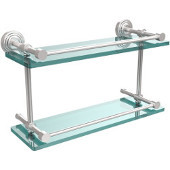 Waverly Place 16 Inch Double Glass Shelf with Gallery Rail, Satin Chrome