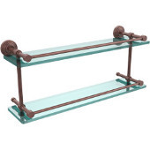 Waverly Place 22 Inch Double Glass Shelf with Gallery Rail, Antique Copper