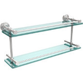 Waverly Place 22 Inch Double Glass Shelf with Gallery Rail, Polished Chrome
