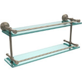 Waverly Place 22 Inch Double Glass Shelf with Gallery Rail, Antique Pewter
