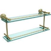 Waverly Place 22 Inch Double Glass Shelf with Gallery Rail, Satin Brass
