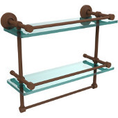 16 Inch Gallery Double Glass Shelf with Towel Bar, Antique Bronze