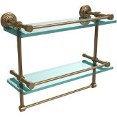 16 Inch Gallery Double Glass Shelf with Towel Bar, Brushed Bronze