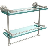 16 Inch Gallery Double Glass Shelf with Towel Bar, Polished Nickel