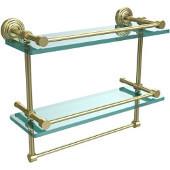 16 Inch Gallery Double Glass Shelf with Towel Bar, Satin Brass