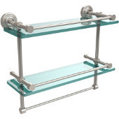 Allied Brass FR-1//16GTB-PNI Fresno Collection 16 Inch Glass Shelf with Vanity Rail and Integrated Towel Bar Polished Nickel