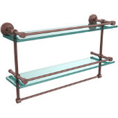 22 Inch Gallery Double Glass Shelf with Towel Bar, Antique Copper