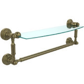 Waverly Place Collection 18'' Glass Shelf with Towel Bar, Premium Finish, Antique Brass