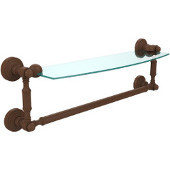 Waverly Place Collection 18'' Glass Shelf with Towel Bar, Premium Finish, Rustic Bronze