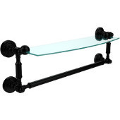 Waverly Place Collection 18 Inch Glass Vanity Shelf with Integrated Towel Bar, Matte Black