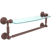 Waverly Place Collection 18'' Glass Shelf with Towel Bar, Premium Finish, Antique Copper