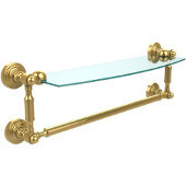 Waverly Place Collection 18'' Glass Shelf with Towel Bar, Standard Finish, Polished Brass