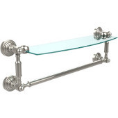 Waverly Place Collection 18'' Glass Shelf with Towel Bar, Premium Finish, Polished Nickel