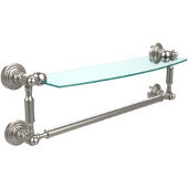 Waverly Place Collection 18'' Glass Shelf with Towel Bar, Premium Finish, Satin Nickel