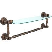 Waverly Place Collection 18'' Glass Shelf with Towel Bar, Premium Finish, Venetian Bronze
