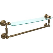 Waverly Place Collection 24'' Glass Shelf with Towel Bar, Premium Finish, Brushed Bronze
