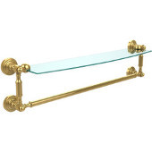 Waverly Place Collection 24 Inch Glass Vanity Shelf with Integrated Towel Bar, Unlacquered Brass