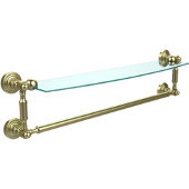Waverly Place Collection 24'' Glass Shelf with Towel Bar, Premium Finish, Satin Brass