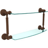 Waverly Place Collection 18'' Double Glass Shelf, Premium Finish, Rustic Bronze