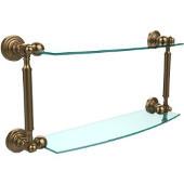 Waverly Place Collection 18'' Double Glass Shelf, Premium Finish, Brushed Bronze
