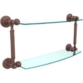 Waverly Place Collection 18'' Double Glass Shelf, Premium Finish, Antique Copper