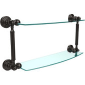 Waverly Place Collection 18'' Double Glass Shelf, Premium Finish, Oil Rubbed Bronze
