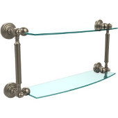 Waverly Place Collection 18'' Double Glass Shelf, Premium Finish, Antique Pewter