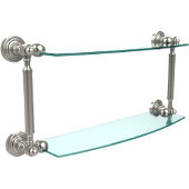 Waverly Place Collection 18'' Double Glass Shelf, Premium Finish, Polished Nickel