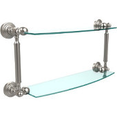 Waverly Place Collection 18'' Double Glass Shelf, Premium Finish, Satin Nickel