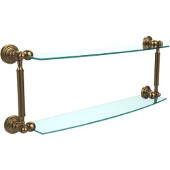 Waverly Place Collection 24'' Double Glass Shelf, Premium Finish, Brushed Bronze