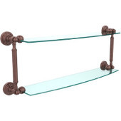 Waverly Place Collection 24'' Double Glass Shelf, Premium Finish, Antique Copper