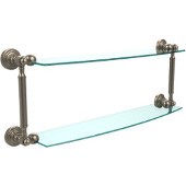 Waverly Place Collection 24'' Double Glass Shelf, Premium Finish, Antique Pewter