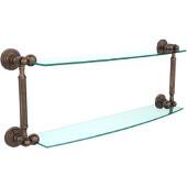 Waverly Place Collection 24'' Double Glass Shelf, Premium Finish, Venetian Bronze