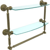 Waverly Place Collection 18'' Double Shelf with Towel Bar, Premium Finish, Antique Brass