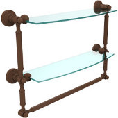 Waverly Place Collection 18'' Double Shelf with Towel Bar, Premium Finish, Rustic Bronze