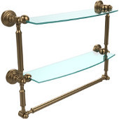 Waverly Place Collection 18'' Double Shelf with Towel Bar, Premium Finish, Brushed Bronze