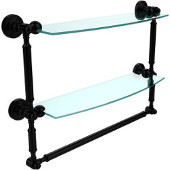 Waverly Place Collection 18 Inch Two Tiered Glass Shelf with Integrated Towel Bar, Matte Black