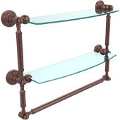 Waverly Place Collection 18'' Double Shelf with Towel Bar, Premium Finish, Antique Copper