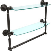 Waverly Place Collection 18'' Double Shelf with Towel Bar, Premium Finish, Oil Rubbed Bronze