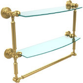 Waverly Place Collection 18'' Double Shelf with Towel Bar, Standard Finish, Polished Brass