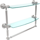 Waverly Place Collection 18'' Double Shelf with Towel Bar, Standard Finish, Polished Chrome