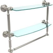 Waverly Place Collection 18'' Double Shelf with Towel Bar, Premium Finish, Polished Nickel