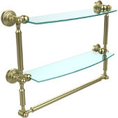 Waverly Place Collection 18'' Double Shelf with Towel Bar, Premium Finish, Satin Brass