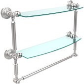 Waverly Place Collection 18'' Double Shelf with Towel Bar, Premium Finish, Satin Chrome
