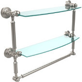 Waverly Place Collection 18'' Double Shelf with Towel Bar, Premium Finish, Satin Nickel
