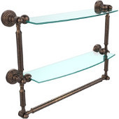 Waverly Place Collection 18'' Double Shelf with Towel Bar, Premium Finish, Venetian Bronze
